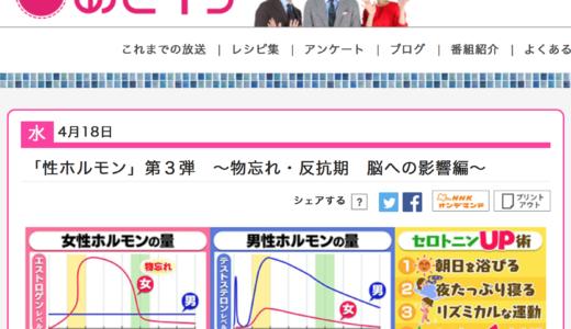 【覚え書き】見ていてよかった NHK「あさイチ」4月18日放送分 性ホルモン×更年期×反抗期